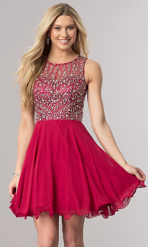 Image of short sleeveless homecoming dress with beaded bodice. Style: DQ-2122 Front Image