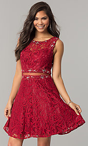 Image of short lace homecoming dress with sheer-waist cut out. Style: DQ-2053 Front Image