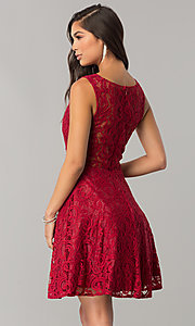 Image of short lace homecoming dress with sheer-waist cut out. Style: DQ-2053 Back Image