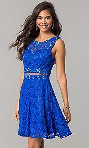 Image of short lace homecoming dress with sheer-waist cut out. Style: DQ-2053 Detail Image 2