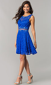 Image of short lace homecoming dress with sheer-waist cut out. Style: DQ-2053 Detail Image 3