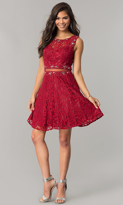 Image of short lace homecoming dress with sheer-waist cut out. Style: DQ-2053 Detail Image 1