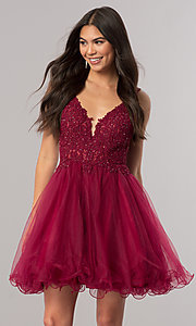 Image of short v-neck homecoming dress with lace applique. Style: DQ-2054 Detail Image 1