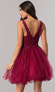 Image of short v-neck homecoming dress with lace applique. Style: DQ-2054 Back Image