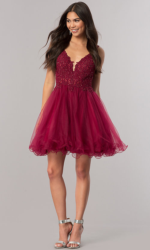 Image of short v-neck homecoming dress with lace applique. Style: DQ-2054 Detail Image 2