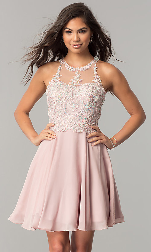 Image of short homecoming dress with lace appliques. Style: DQ-9997 Detail Image 1
