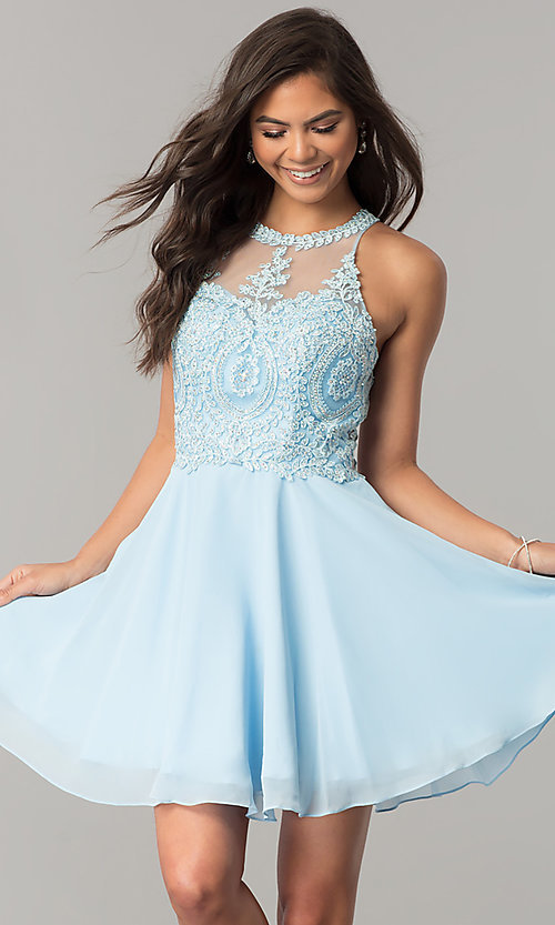 Image of short homecoming dress with lace appliques. Style: DQ-9997 Front Image