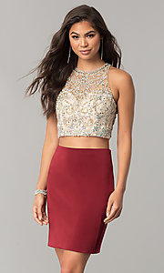 Image of two-piece short homecoming dress with pencil skirt. Style: DQ-2134 Detail Image 1