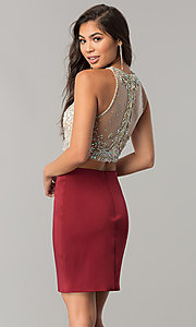 Image of two-piece short homecoming dress with pencil skirt. Style: DQ-2134 Back Image