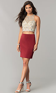 Image of two-piece short homecoming dress with pencil skirt. Style: DQ-2134 Detail Image 2
