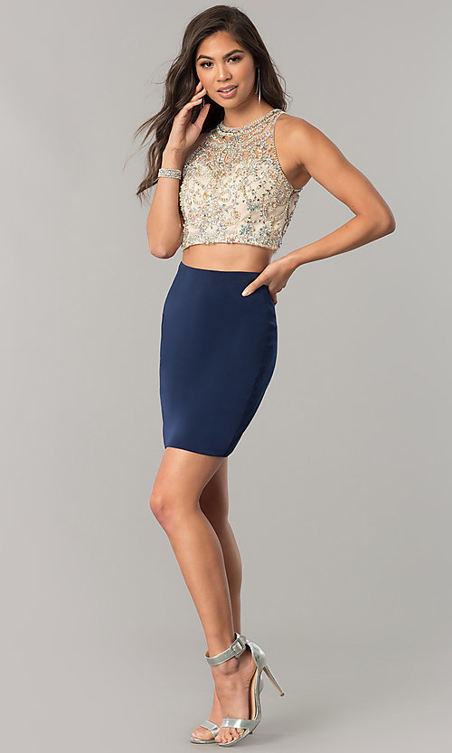 Image of two-piece short homecoming dress with pencil skirt. Style: DQ-2134 Detail Image 3