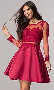 Image of long-sleeve mock-two-piece homecoming dress. Style: DQ-2034 Detail Image 1