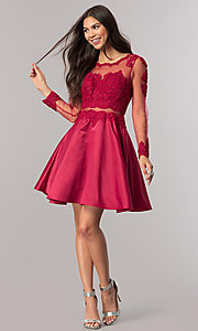 Image of long-sleeve mock-two-piece homecoming dress. Style: DQ-2034 Detail Image 3