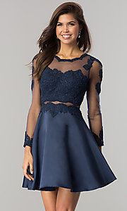 Image of long-sleeve mock-two-piece homecoming dress. Style: DQ-2034 Front Image