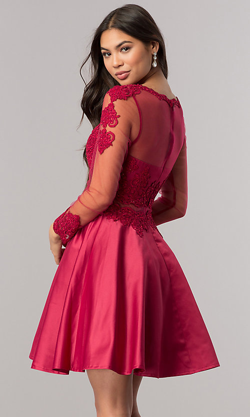 Image of long-sleeve mock-two-piece homecoming dress. Style: DQ-2034 Detail Image 2
