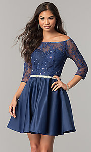 Short Homecoming Dress with Three-Quarter Sleeves