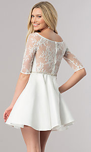 Image of short homecoming dress with three-quarter sleeves. Style: DQ-2112 Back Image