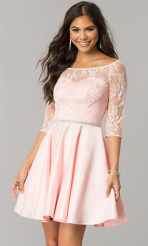 Image of short homecoming dress with three-quarter sleeves. Style: DQ-2112 Detail Image 2