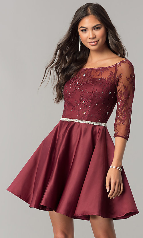 Image of short homecoming dress with three-quarter sleeves. Style: DQ-2112 Detail Image 3