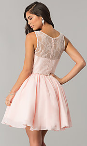 Image of chiffon homecoming dress with floral-lace bodice. Style: DQ-2056 Back Image