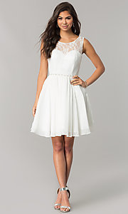 Image of chiffon homecoming dress with floral-lace bodice. Style: DQ-2056 Detail Image 3
