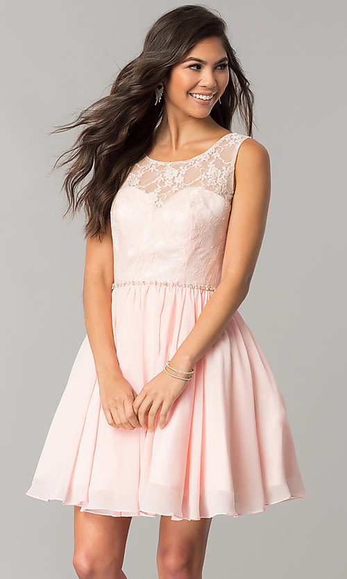 Image of chiffon homecoming dress with floral-lace bodice. Style: DQ-2056 Front Image