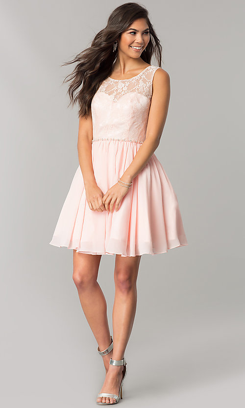 Image of chiffon homecoming dress with floral-lace bodice. Style: DQ-2056 Detail Image 1