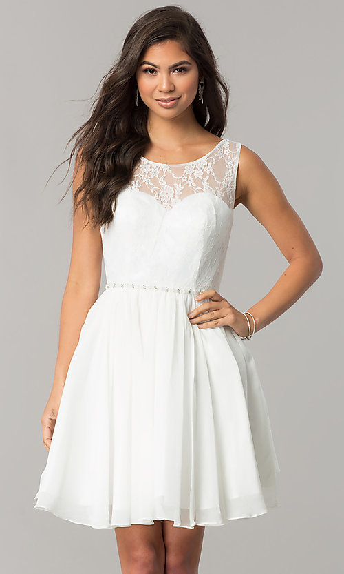 Image of chiffon homecoming dress with floral-lace bodice. Style: DQ-2056 Detail Image 2