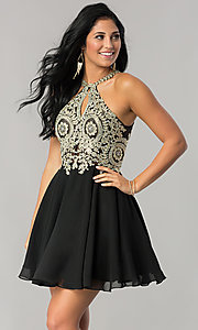 Sparkling-Lace-Bodice Short Chiffon Homecoming Dress