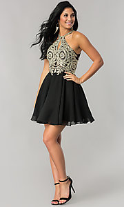 Image of sparkling-lace-bodice short chiffon homecoming dress. Style: DQ-2078 Detail Image 1