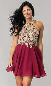 Image of sparkling-lace-bodice short chiffon homecoming dress. Style: DQ-2078 Detail Image 3