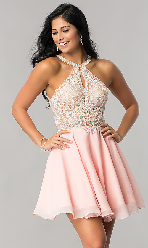 Image of sparkling-lace-bodice short chiffon homecoming dress. Style: DQ-2078 Detail Image 2