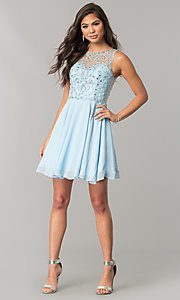 Image of illusion-sweetheart short chiffon homecoming dress. Style: DQ-2145 Detail Image 3