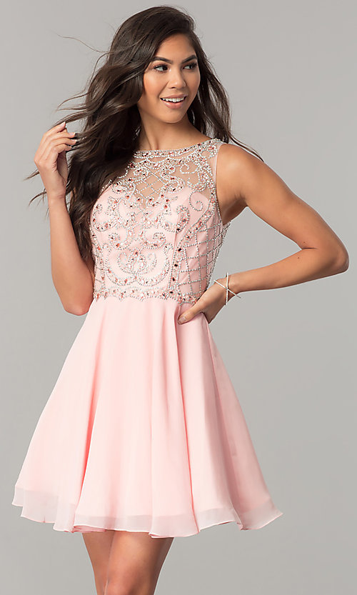 Image of illusion-sweetheart short chiffon homecoming dress. Style: DQ-2145 Front Image