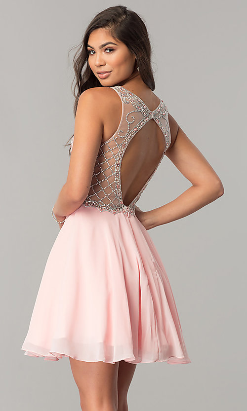 Image of illusion-sweetheart short chiffon homecoming dress. Style: DQ-2145 Back Image