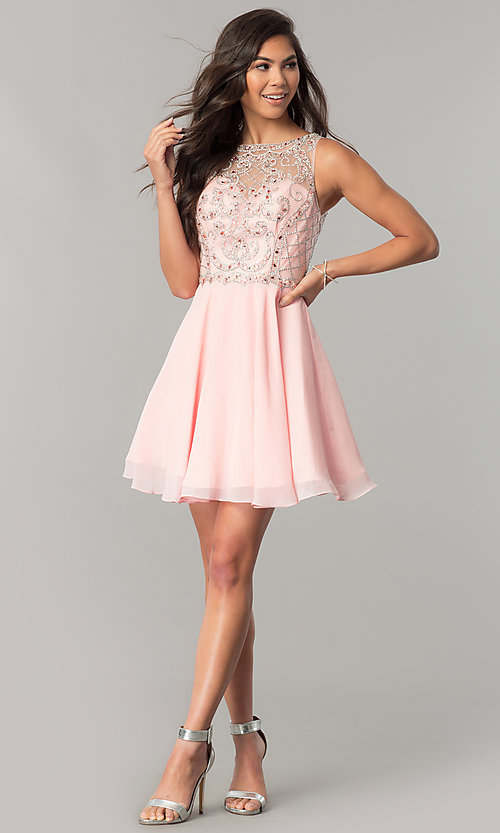 Image of illusion-sweetheart short chiffon homecoming dress. Style: DQ-2145 Detail Image 1