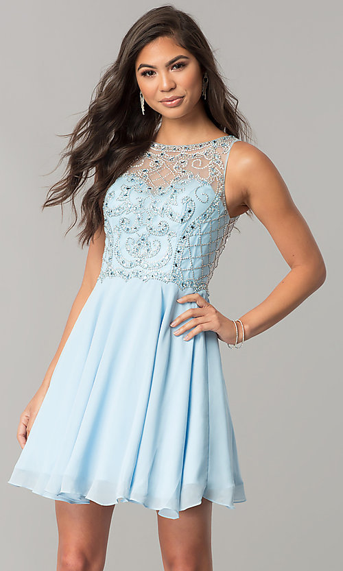 Image of illusion-sweetheart short chiffon homecoming dress. Style: DQ-2145 Detail Image 2