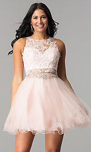 Image of short homecoming dress with rhinestone-lace applique. Style: DQ-9999 Detail Image 2