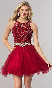 Image of short homecoming dress with rhinestone-lace applique. Style: DQ-9999 Front Image