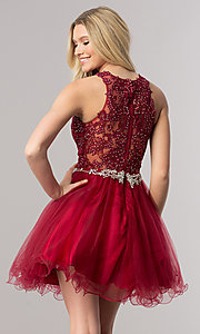 Image of short homecoming dress with rhinestone-lace applique. Style: DQ-9999 Back Image