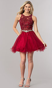 Image of short homecoming dress with rhinestone-lace applique. Style: DQ-9999 Detail Image 1