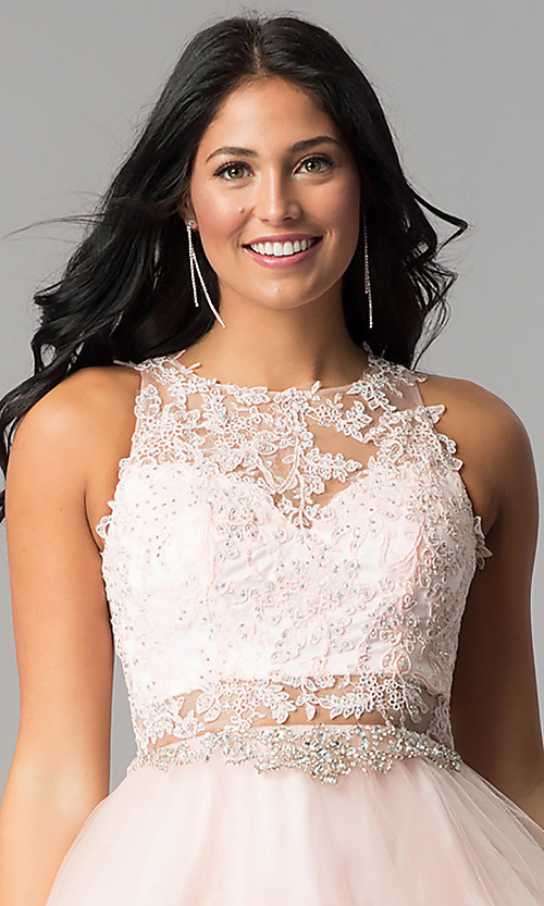 Image of short homecoming dress with rhinestone-lace applique. Style: DQ-9999 Detail Image 3