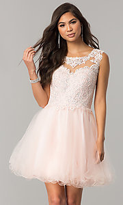 Lace Appliqued Bodice Short Homecoming Dree