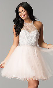 Image of short tulle halter homecoming dress with beading. Style: DQ-2052 Detail Image 2