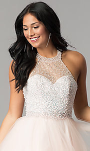 Image of short tulle halter homecoming dress with beading. Style: DQ-2052 Detail Image 3
