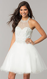 Image of short tulle halter homecoming dress with beading. Style: DQ-2052 Front Image