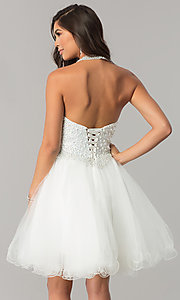 Image of short tulle halter homecoming dress with beading. Style: DQ-2052 Back Image