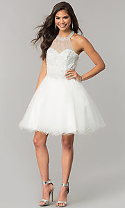 Image of short tulle halter homecoming dress with beading. Style: DQ-2052 Detail Image 1