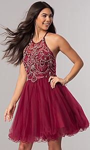 Image of babydoll burgundy red short homecoming dress. Style: DQ-2102 Front Image