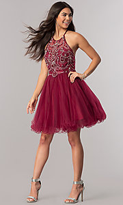 Image of babydoll burgundy red short homecoming dress. Style: DQ-2102 Detail Image 1